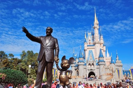 Walt and Mickey statue in front of Castle in Disney World